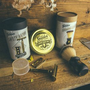 Full Shaving Kit Set Rasatura Golden Beards
